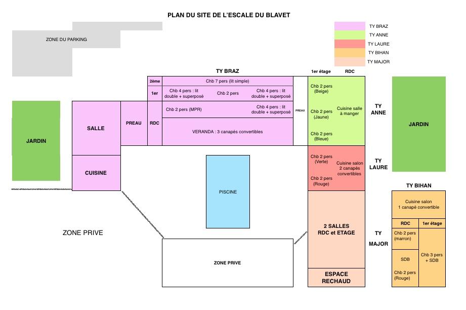 Plan du domaine Escale du Blavet
